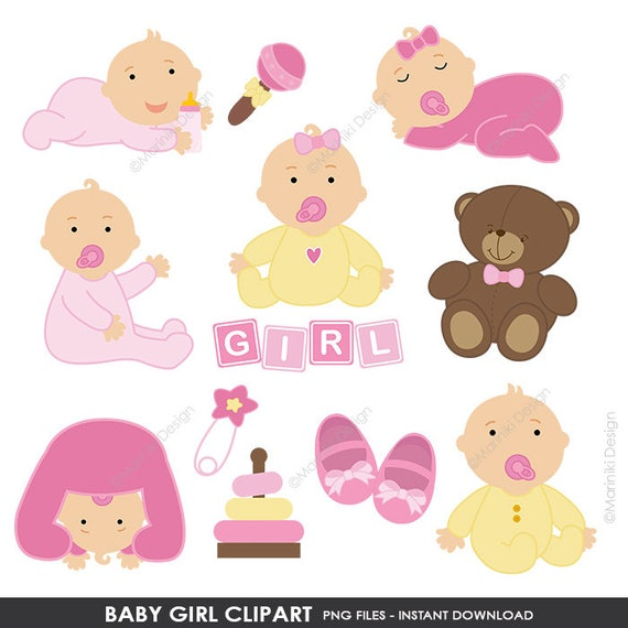 Baby Clipart Baby Dusche Clipart Baby Girl Clipart Rosa Etsy