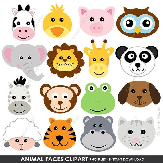 Animal Faces Clipart Cute Farm Animals Clip Art Animal | Etsy