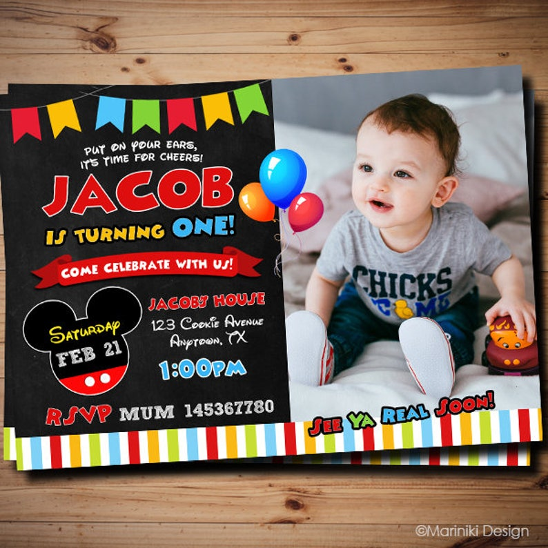 Mickey Mouse Birthday Invitations 1st 2nd 3rd Any Age Photo BK40