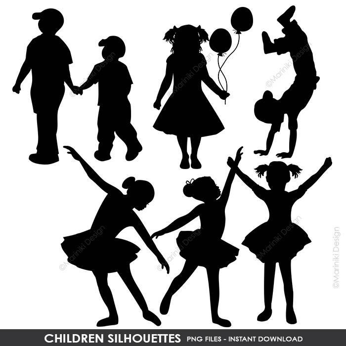 Children Silhouettes Clipart Children Clip Art Boy