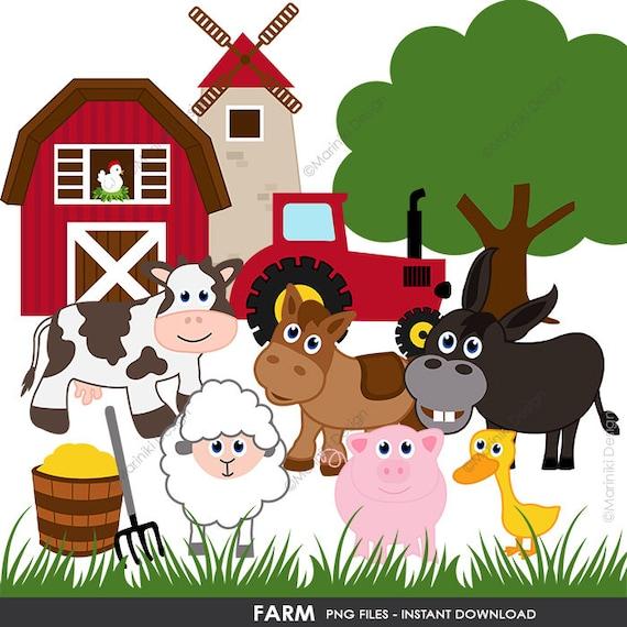 Bauernhof Clipart Bauernhof Clipart Bauernhof Tiere Clipart Etsy
