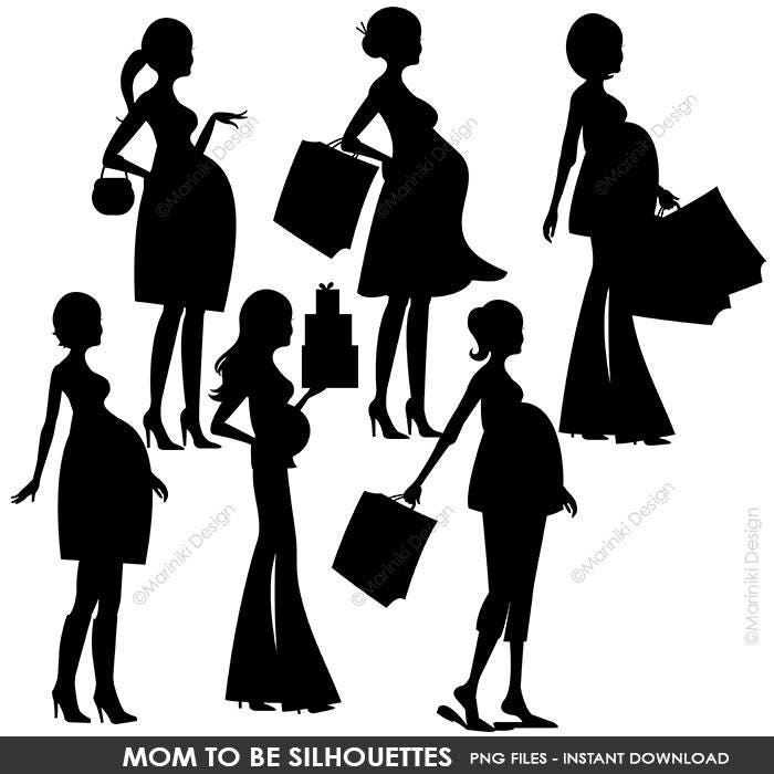 Mom to be silhouettes clipart pregnant woman shopping digital etsy zoom filmwisefo