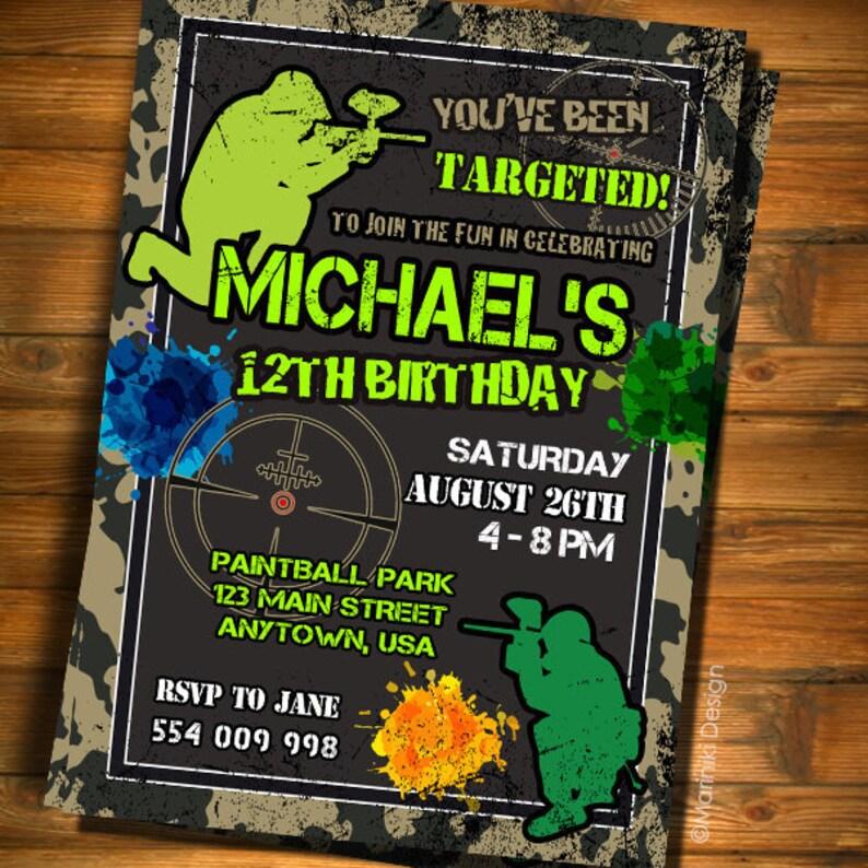 Invitation De Paintball Paintball Fete D Anniversaire Invitation Du Jeu Video Garcons Invitation Invitation De L Armee Laser Tag