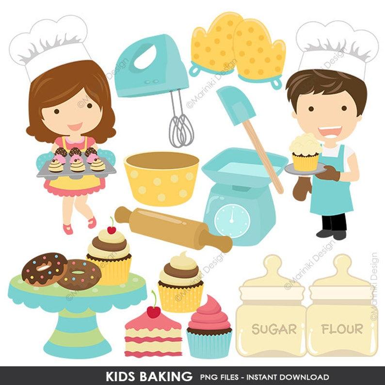 Baking Clip Art Kids Baking Clipart Kitchen Cooking Kids Etsy