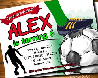 Soccer Invitation, Soccer Birthday Party, Football Invitation, Boys Invitation, Sport Invitation, Teen Birthday Invitation BK76