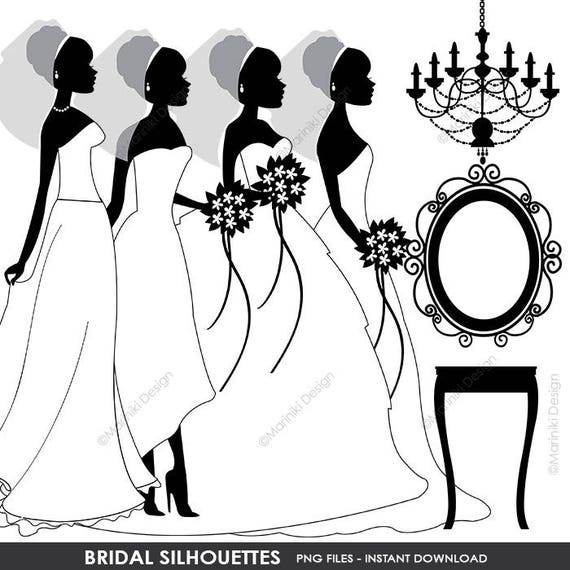 Wedding Clipart Bridal Silhouettes Clip Art Bride