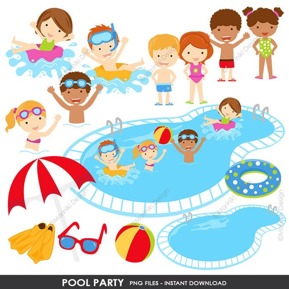 pool party clipart summer clipart pool clip art beach etsy rh etsy com pool party clipart images pool party clipart black and white