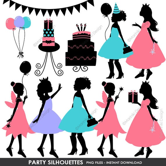 children silhouettes clip art party silhouettes girls etsy rh etsy com girls clipart transparent girls clipart free