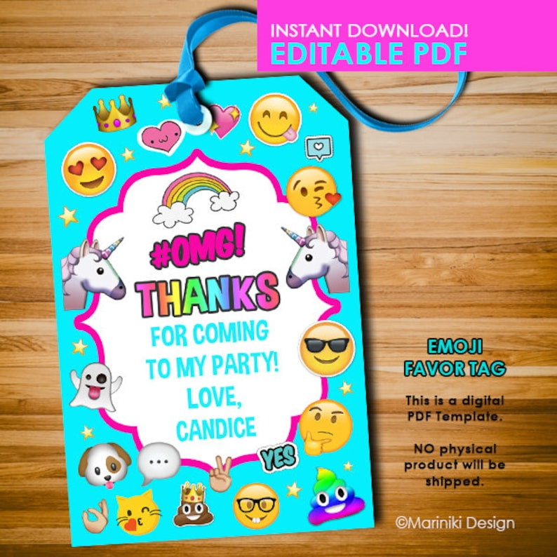 Emoji Favor Tags Unicorn Party Sleepover Birthday Labels Gift Editable Instant Download EF1
