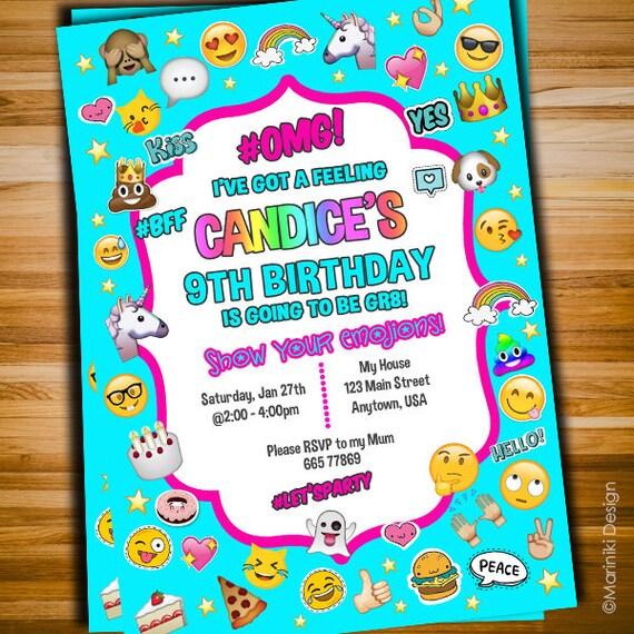 Emoji Invitation Girls Birthday Teen