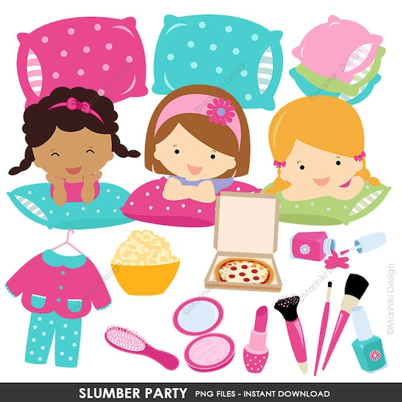 slumber party clipart pajamas party girl sleepover birthday etsy rh etsy com Clip Art Birthday Party Spa Party Clip Art