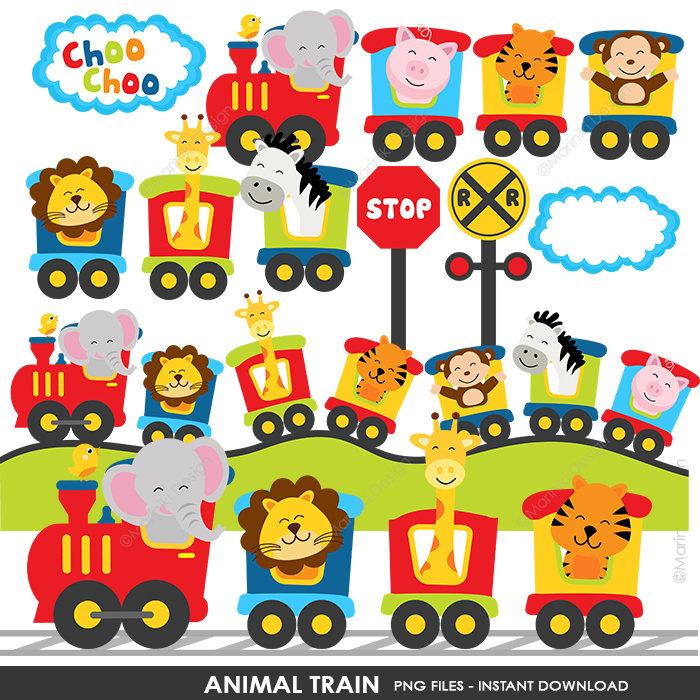 Animal Train Clipart Jungle Animals Choo Choo Train Baby ...