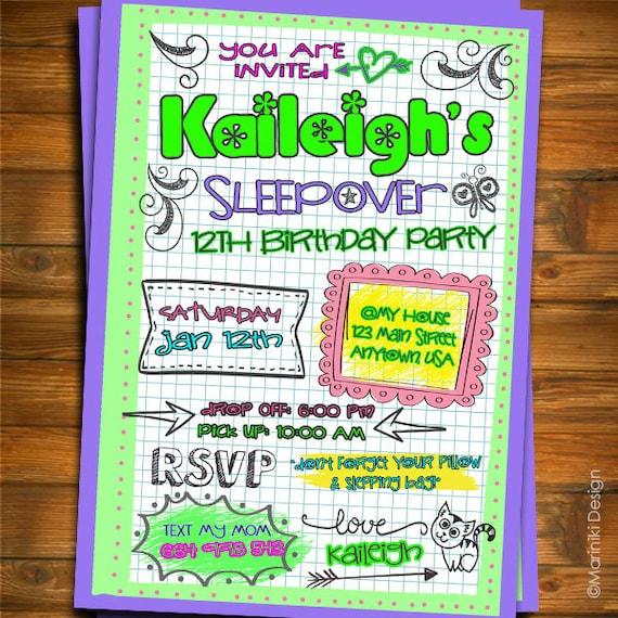 Girl Sleepover Birthday Party Invitation Doodle Notebook Teen Etsy