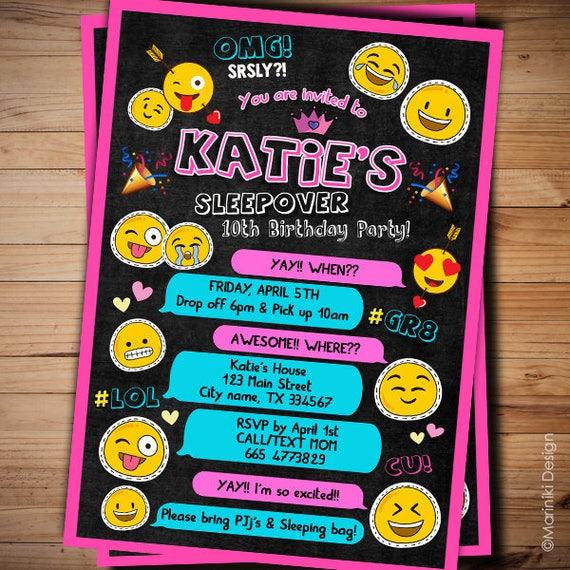 sleepover invitations emoji invitations girl birthday etsy