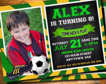 Soccer Invitation, Soccer Birthday Party, Football Invitation, Boys Invitation, Sport Invitation, Teen Birthday Invitation BK77