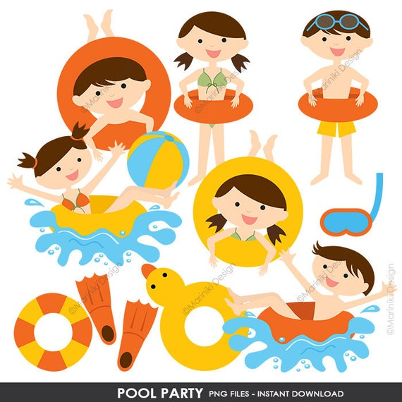 Pool Schwimmbad Partei Cliparts Sommer Clipart Clipart Etsy