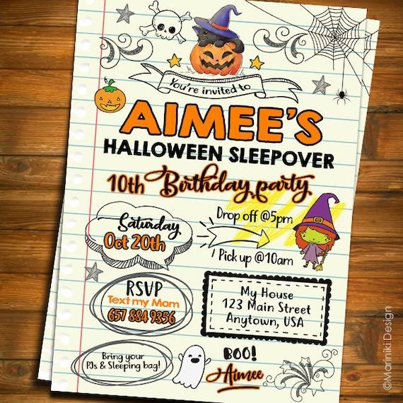 Halloween Sleepover Invitation Girls Doodle Teen Notebook Sleepover Birthday Invitation Halloween Party Invitations Slumber Party H17