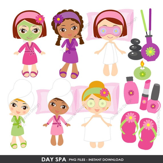 spa clipart girls day spa clip art slumber party clipart etsy