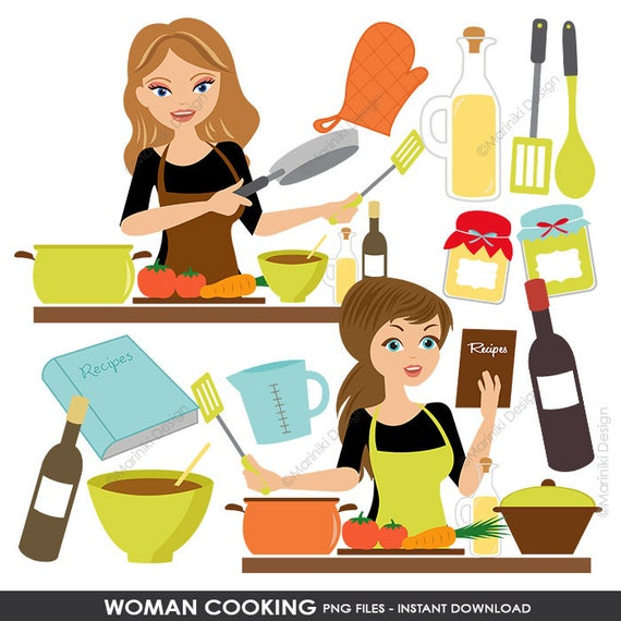 Cooking Kitchen Clipart Set Baking Clipart Woman Chef