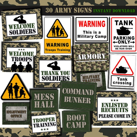 Army Party Signs Military Birthday Printables