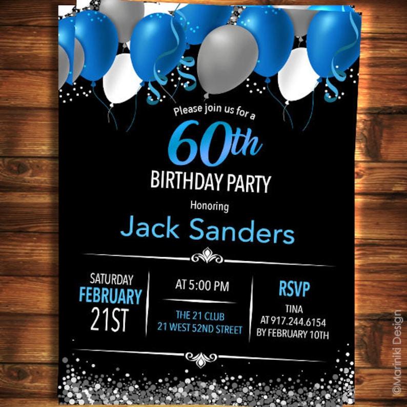 60th Birthday Invitation For Men Black Blue Elegant