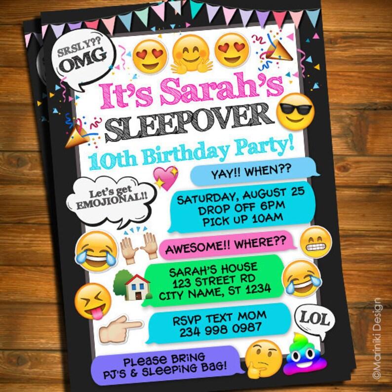 Sleepover Invitation Girls Birthday
