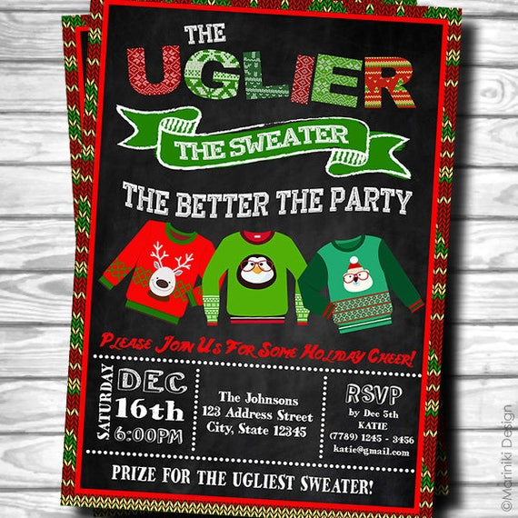 Ugly Christmas Sweater Party Invite.Ugly Sweater Invitation Ugly Christmas Sweater Ugly Sweater Party Invitation Christmas Invitation Chalkboard Ugly Sweater Invites C5