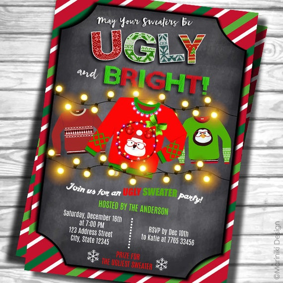 Ugly Sweater Invitation Ugly Christmas Sweater Christmas Etsy