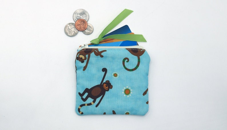 Children/'s Coin Purse ID purse Credit Card Holder soft purse quilted: Monkeys on Aqua Fabric