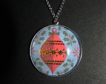 Christmas Bauble Stone Pendant Necklace