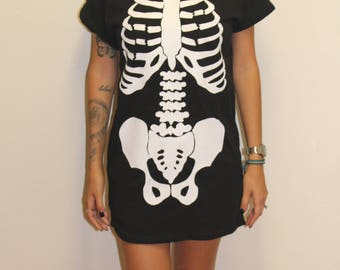 Halloween Dress - Skeleton Dress - Halloween Skeleton Costume - Halloween Costume Women - Skull Dress - Black Dress - T-shirt Dress