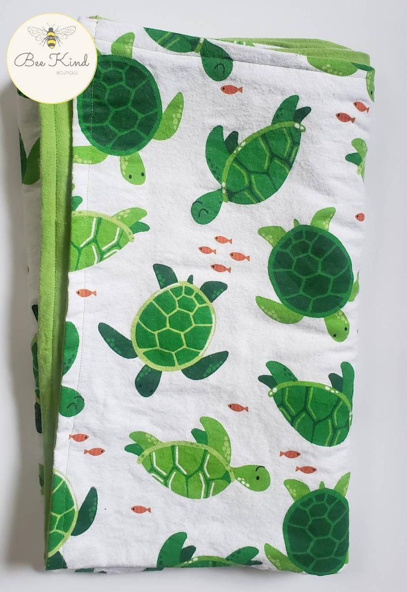 Turtle Cotton Flannel Baby Blanket
