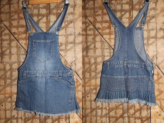 Vintage Denim Skirt Overalls , Jumper Dress , Deni