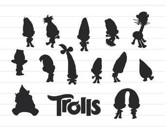 INSTANT DOWNLOAD   Trolls Silhouettes Svg, Trolls Silhouette Cut File, Trolls  Clipart, Trolls Clipart, Trolls Cut File, Trolls Svg Cut Files
