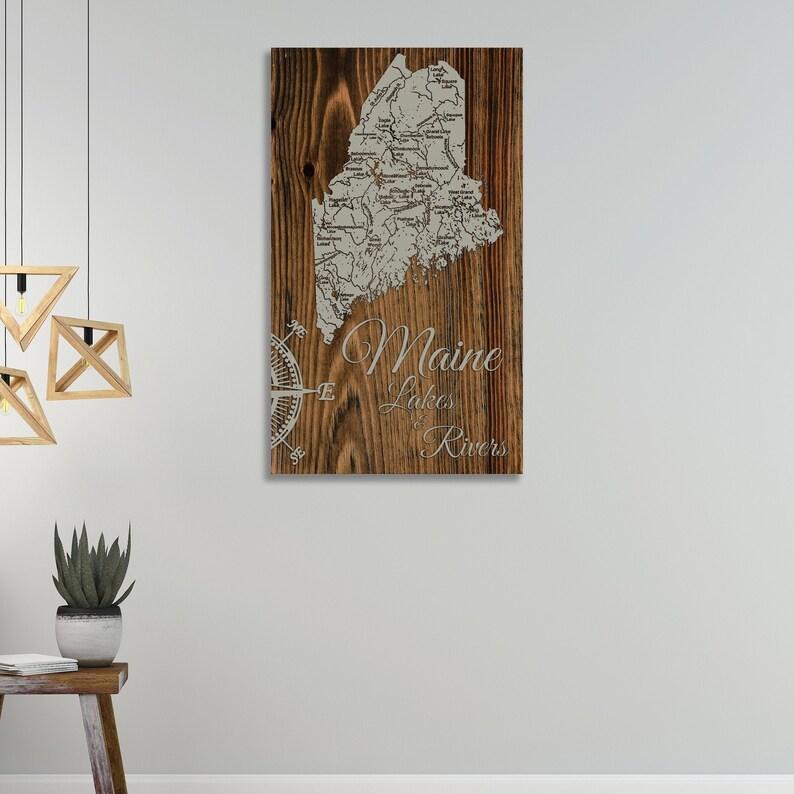 Maine Lakes /& Rivers; Wood Wall Art Groomsmen Gift Wood Burning Art Rustic Home Decor Bridesmaid Gift Wedding Gift