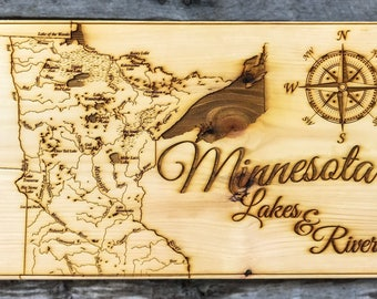 Minnesota Lakes and Rivers - Wood Burned Map