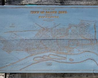 Historical City of Saint Paul, Minnesota 1860 - Wood Burned Map