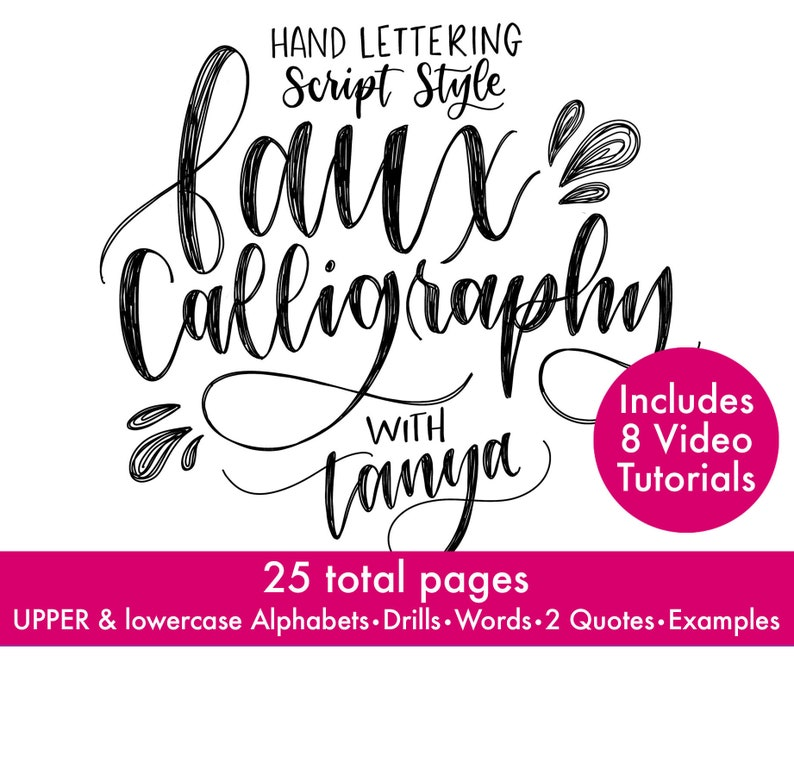 Faux Calligraphy Hand lettering COURSE wrksheets & videos image 0