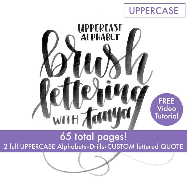 Uppercase Alphabet Brush lettering worksheets-printables image 0