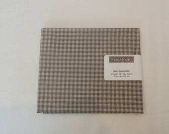 Fabric cotton gingham Beige and taupe