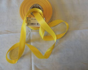 Yellow 15 mm wide satin ribbon