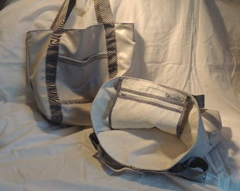 Pearl gray tote bag lined