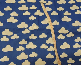 Background blue clouds white pattern cotton fabric