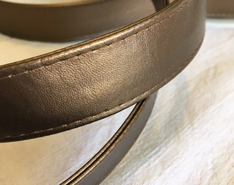 Leather faux strap, width 2.5 cm, Rust color
