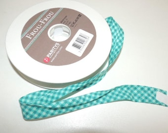 Bias fancy turquoise gingham cotton