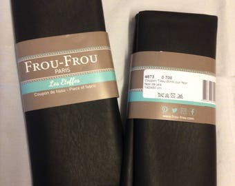 Leather color black fabric coupon