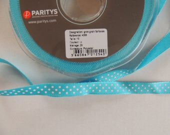 Ribbon grosgrain fancy turquoise blue white polka dots