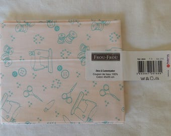 I Love sewing pattern sewing petal pink color cotton fabric coupon