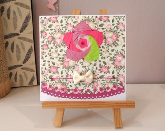 Mothers card, floral card with iris folding card, fancy cut