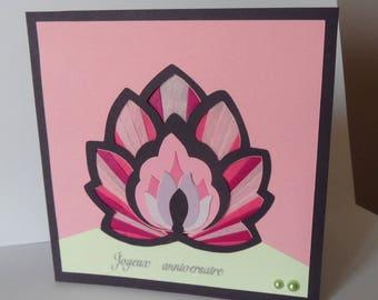 Birthday card, card with lotus flower, flower, iris folding card